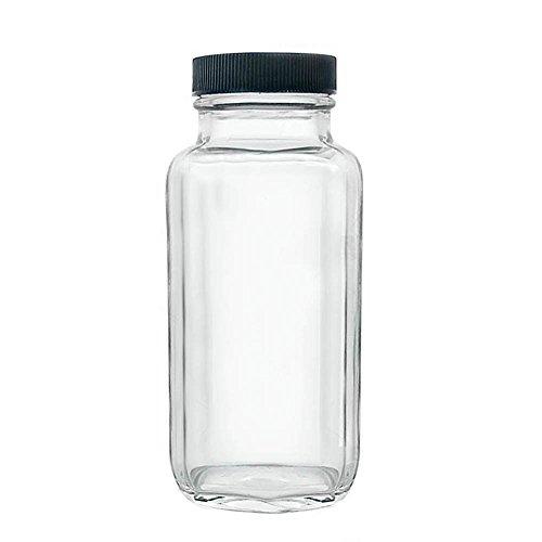 French Square Craft Bartending Jar w/Black Lid - Clear 8oz ()