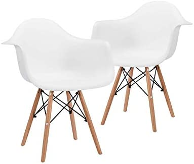 CANGLONG CHAIR NATURAL WOOD LEGS MID CENTURY MODERN DSW MOLDED SHELL LOUNGE PLASTIC ARM CHAIR FOR LIVING, BEDROOM, KITCHEN, DINING, WAITING ROOM, SET OF 2, WHITE