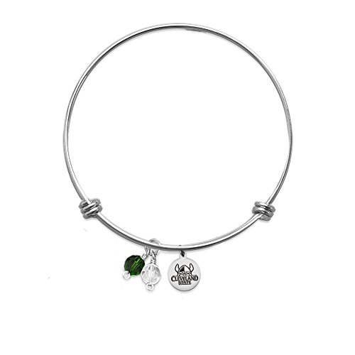 PETITE Cleveland State Vikings Bangle Bracelet With 10mm Charm - Stainless Steel (Two Crystals)