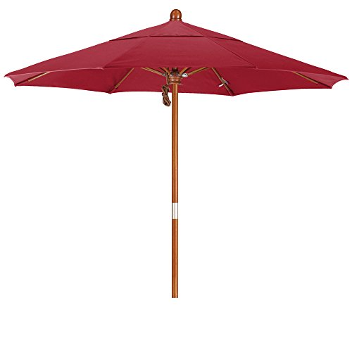 Eclipse Collection 7.5' Wood Market Umbrella Pulley Open Marenti Wood/Olefin/Red