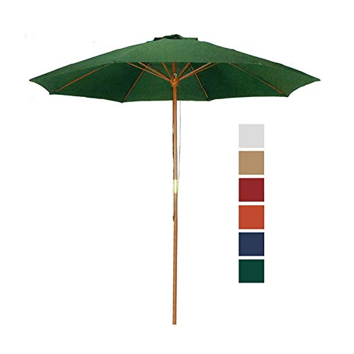 9 Ft Wood Market Patio Umbrella Outdoor Garden Yard Wooden Umbrella with Pulley Lift, 8 Ribs, Hunter Green Color Umbrella -