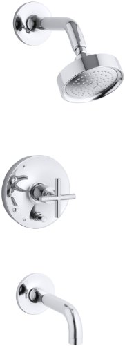 KOHLER K-T14421-3E-CP Purist Rite-Temp Pressure-Balancing Bath and Shower Faucet Trim, Valve Not Included, Polished Chrome