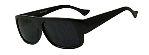 SunglassUP Original OG Classic Flat Top Eazy E Super Dark Limo Tint Sunglasses (Black) - Old School Hollywood Costume