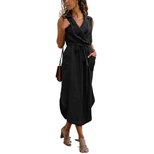Qingell Women Dress Elegant Sleeveless Solid Pockets Dress V Neck Turn Down Collar Tie up Robes Long Dress Black ()