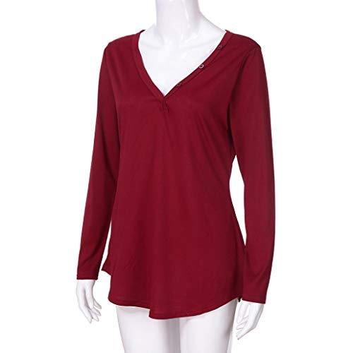 Top Fluide Femme Col V Manches Rouge Blouse Bringbring Longue Sexy Chemiser Chic Chemise S0w54nqvaW