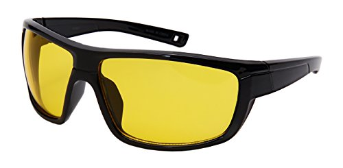 Edge I-Wear Yellow Night Vision Sports Wrap Sunglasses Men Women Driving Running Cycling W/Fiber Case 570097-ND-1 - Glare Sunglasses Non
