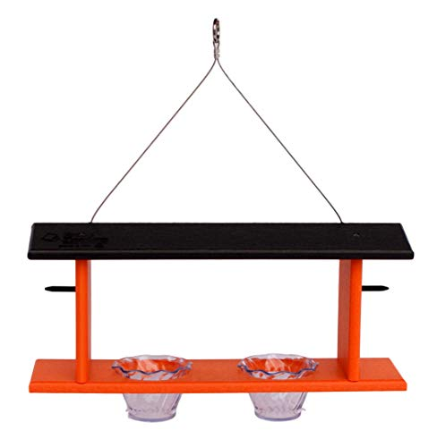 Amish-Made Double Oriole Bird Feeder, Eco-Friendly Poly-Wood Hanging Decorative Oriole Jelly Feeder - Deluxe Oriole Feeder