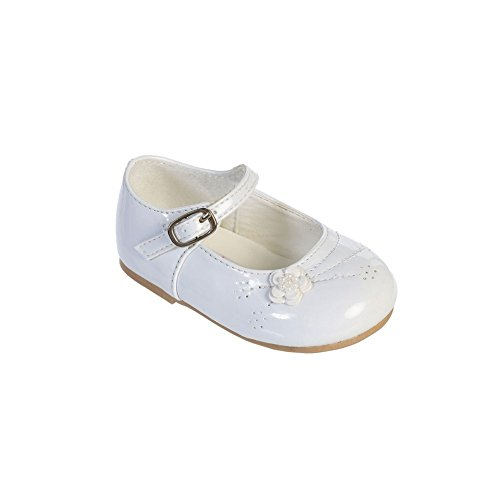 Tip Top Kids Little Girls White Flower Applique Patent Leather Mary Jane Shoes 7 Toddler
