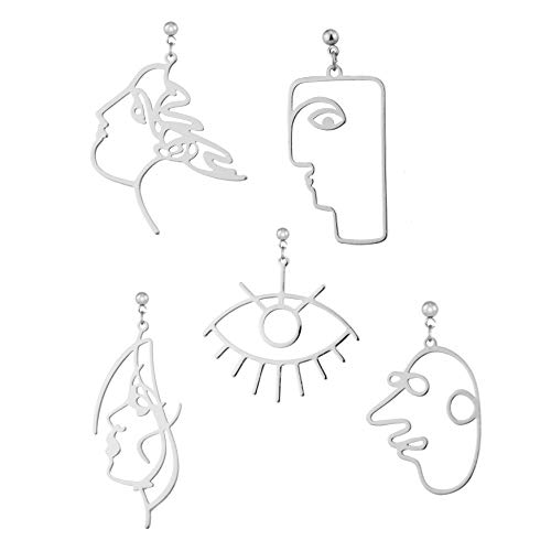 5 Pairs Modern Abstract Art Face Earrings Set Geometric Human Face Fashion Design Dangle Earrings