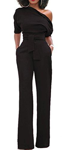 Bigyonger Womens Sexy Off Shoulder Jumpsuits Wide Leg Long Romper Pants with Belt