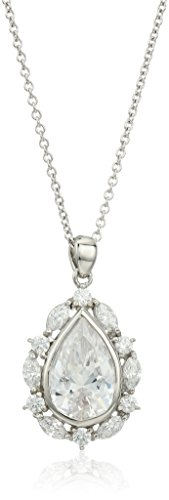 Marquise Simulated Diamond Sterling Pendant (Platinum Plated Sterling Silver Swarovski Zirconia Vintage White Pear Marquise Round Pendant Necklace, 16