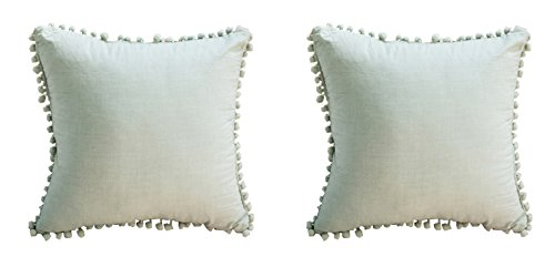 Meaning4 Pom-Fringe Cotton Pillow Covers Green 18X18inches(45x45CM) Set of 2 (Outdoor Lifestyle Furniture Manufacturers)