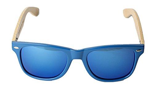 Vento en con sol Marco de amp;Blue azul protección UV400 lentes diseñadas y azul Gafas CE madera modelo Chinook de bambú Eyewear® certificados Italia de Blue rwZOr0