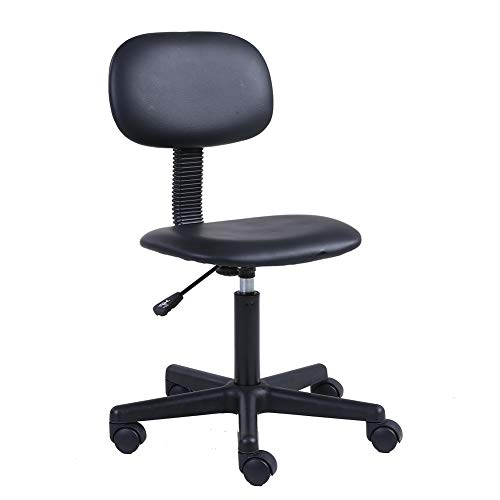 Computer Task Stool - KKTONER PU Leather Low Back Task Chair Without Arms Computer Office Chair Stool Black