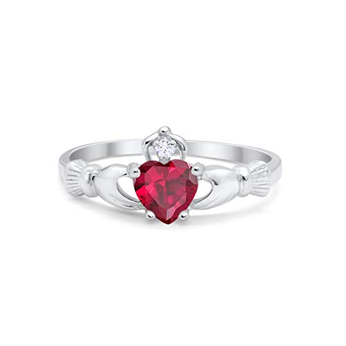 Blue Apple Co. Irish Claddagh Heart Promise Ring Simulated Red Ruby Round CZ 925 Sterling Silver, Size-10