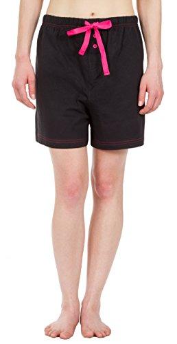 Leisureland Women's Cotton Knit Pajama Sleepwear Lounge Boxer Shorts Black Large