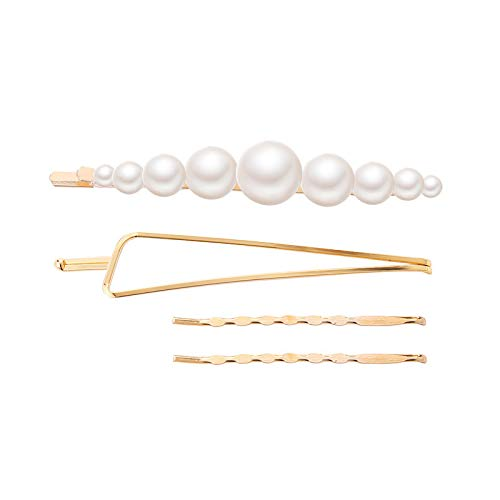 Pearl Hair Clips for Women Grils,3PC/4PC/5PC Sweet Artificial Beads Hair Accessories Gift Hairpin for Party,Daily,Wedding(I) ()