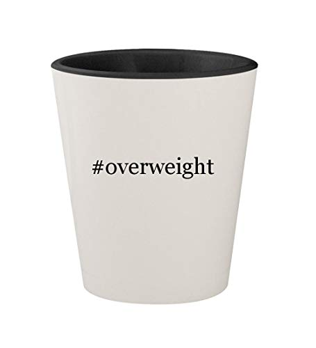 #overweight - Ceramic Hashtag White Outer & Black Inner 1.5oz Shot Glass