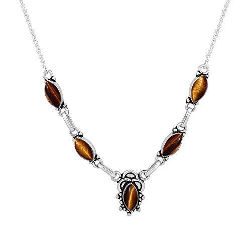 (Genuine Tiger Eye 925 Silver Plated Handmade Necklace Vintage Bohemian Style Jewelry for Women)
