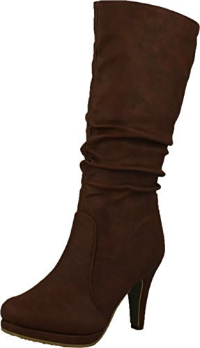 Top Moda Womens Page-43 Mid Calf Round Toe Slouched High Heel Boots, Tan 7.5