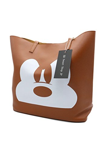 Disney Character Mark Mickey Face UP Leather Shoulder Back (Brown)