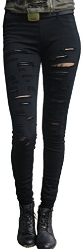 Pantalones de Pants zerrissen Negro Leggings Gótico Kei Mode Jeggings