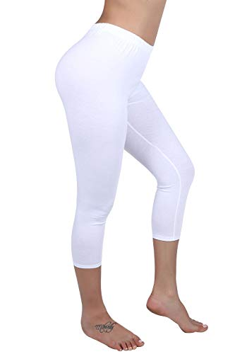 DIAMONDKIT Stretch Cotton Capri Crop Leggings Tights (X-Large, White)