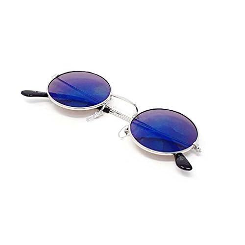 0861210e2a Ultra Plata Con Azul Espejada Lentes Adultos Retro Redondas Gafas de Sol  Pequeñas Estilo John Lennon