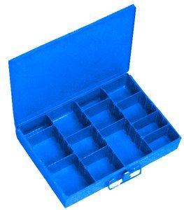 9-1/4''L x 13-3/8''W x 2''H Blue Steel Adjustable Small Scoop Compartment Box