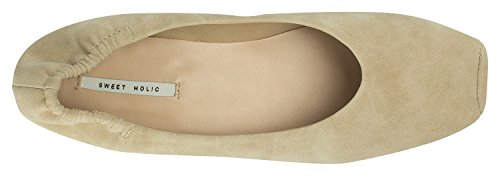 Shoes Vegan Toe Tan Ballet On Elastic AnnaKastle Flats Square Leather Womens Slip 1gfFvxF
