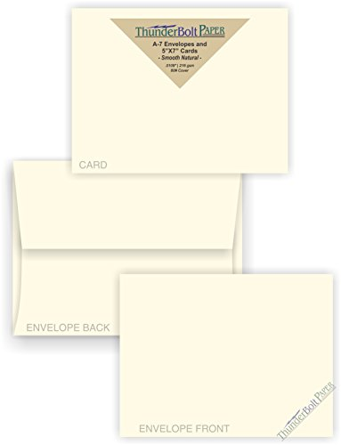 (5X7 Blank Cards with A-7 Envelopes - Smooth Natural White - 50 Sets - Silky Finish - Invitations, Greeting, Thank Yous, Notes, Holidays, Weddings, Birthdays, Announcements - 80# Cardstock)