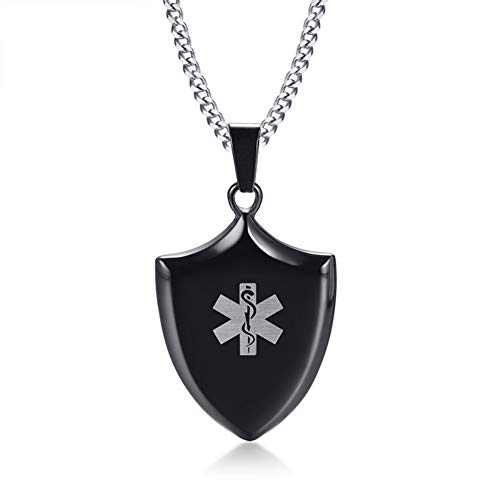 LiFashion LF Mens Stainless Steel ICE SOS Type 1 Diabetes Medical Alert ID Shield Tag Pendant Necklace Monitoring Emergency for Friend Grandpa Dad Husband Son