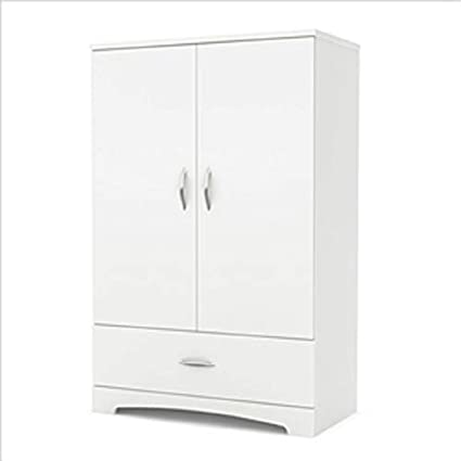 Charmant MyEasyShopping White Clothes Storage Wardrobe Cabinet Armoire With Bottom  Drawer Closet Wardrobe Furniture Space