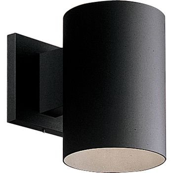 Progress Lighting P5674-31 5-Inch Cylinder with Heavy Duty Aluminum Construction and Die Cast Wall Bracket Powder Coated Finish UL Listed for Wet Locations, Black, Width x 7-1/4-Inch Height
