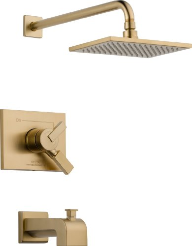 Delta Faucet Vero 17 Series Dual-Function Tub and Shower Trim Kit with Single-Spray Touch-Clean Rain Shower Head, Champagne Bronze T17453-CZ (Valve Not ()