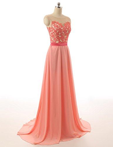Brautjungfernkleider Damen Chiffon Lang Festkleider Linie Abendkleid A Minze Ballkleid qOERx0wv