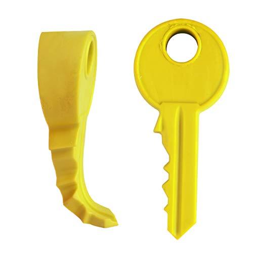Saim Door Stopper Door Stop Soft Non-Toxic Flexible Silicone Cute Cartoon Key Style Functional Doorstop Window/Door Stops for Home Garden Office, Yellow, 2pcs from Saim