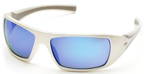 Frame Blue Ice Lens - Pyramex Goliath Safety Eyewear, White Frame, Ice Blue Mirror Lens