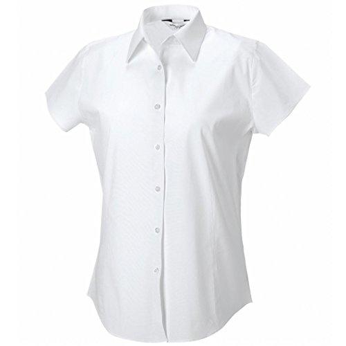 Russell Collection camiseta de manga corta para de fácil cuidado elástica ajustada para mujer blanco