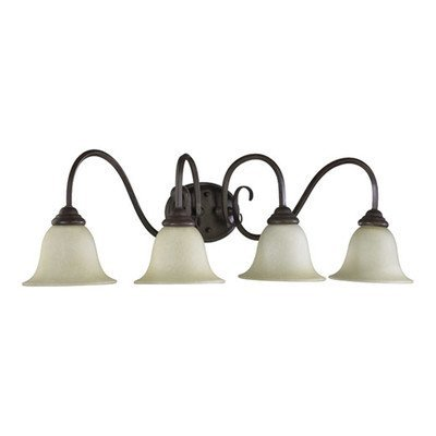 Quorum International 5110-4-44 Vanity Lights with Amber Scavo Glass Shades, Toasted Sienna by Quorum - Amber Scavo Vanity