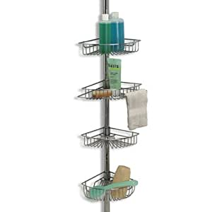 CHROME tension POLE storage BATH SHOWER CADDY 4-tiered decor space saver