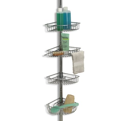 Amazon.com: CHROME tension POLE storage BATH SHOWER CADDY 4-tiered ...