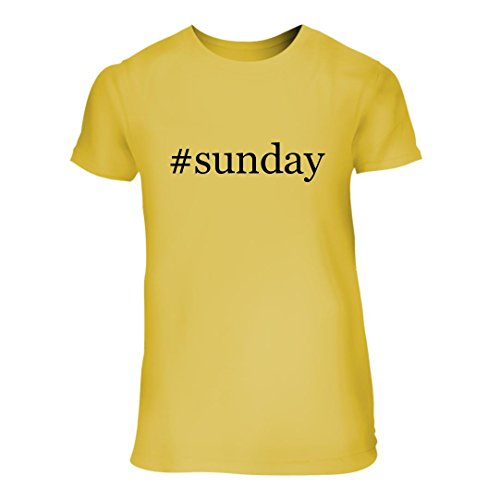 #Sunday - A Nice Hashtag Junior Cut Women's Short Sleeve T-Shirt, Yellow, Large