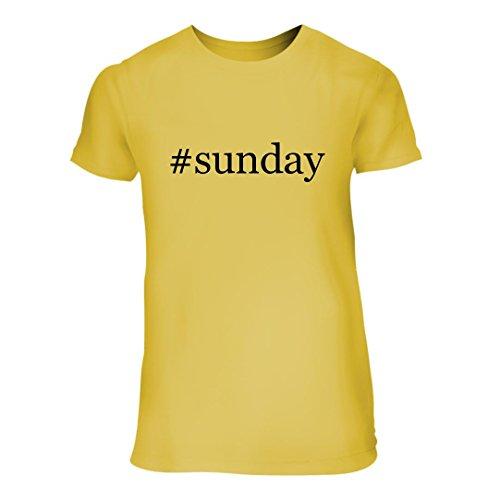 #Sunday - A Nice Hashtag Junior Cut Women's Short Sleeve T-Shirt, Yellow, Large -