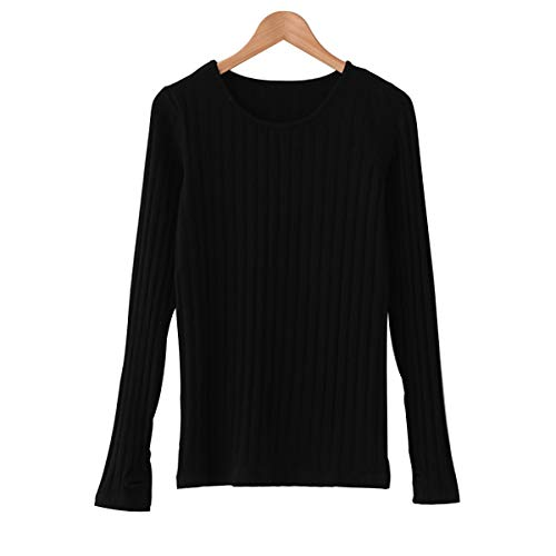 Cotton Ribbed Tee Womens (LUFENG Women's Basic Cotton Ribbed Tops Tees Thumb Hole Long Sleeve Sweater Tops Pullover)