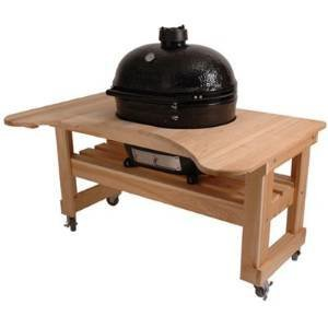 - Primo 600 Cypress Wood Table for Primo Oval XL Grill, 4 Wheels