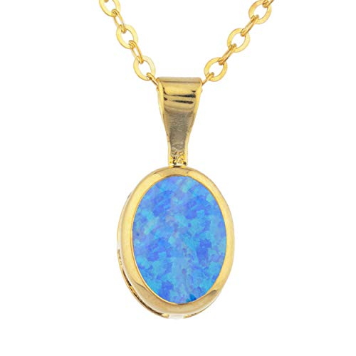 (Blue Opal Oval Bezel Pendant Necklace 14Kt Yellow Gold Rose Gold Silver)