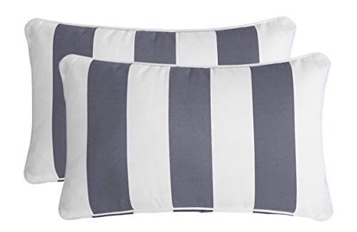 Ornavo Home Water Resistant Indoor/Outdoor Rectangle Patio Decorative Stripe Throw Pillow Cushion - Insert Included - Set of 2-12