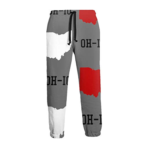 - Unisex 3D Printed Sweatpants Red-and-Gray Oh-io Funny Hip Hop Casual Pants Sports Trousers with Drawstring for Running