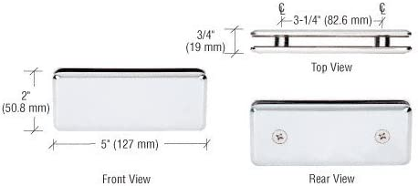 C.R. LAURENCE BGC180CH CRL Chrome Beveled 180 Degree Glass-to-Glass Clamp by C.R. Laurence